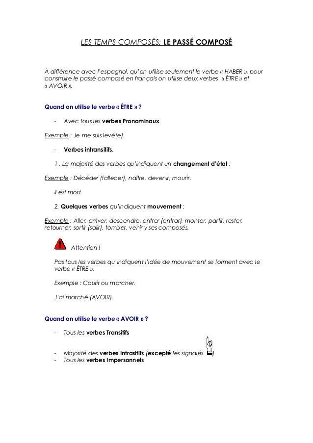 LES TEMPS COMPOSÉS: LE PASSÉ COMPOSÉ À différence avec l'espagnol, qu'on utilise seulement le verbe « HABER », pour constr...
