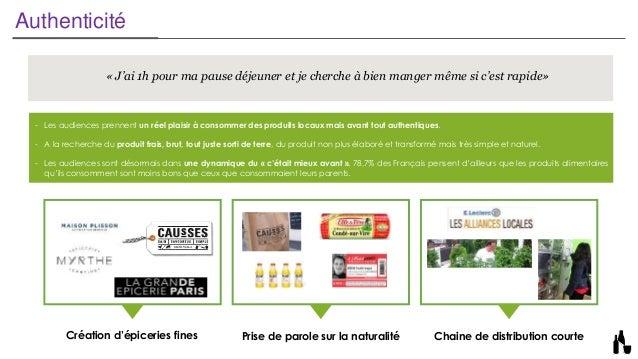 Authenticité Création d'épiceries fines Prise de parole sur la naturalité Chaine de distribution courte - Les audiences pr...