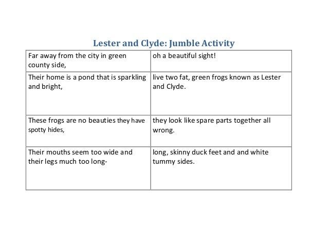 lester and clyde jumble activity