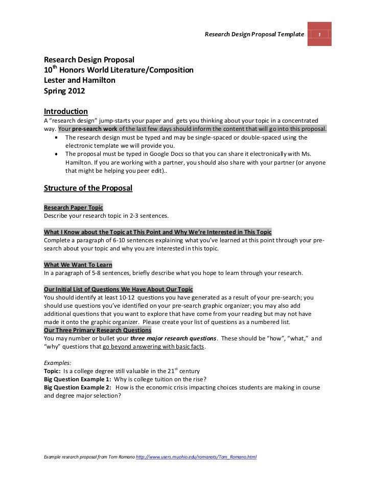 Research Design Proposal Template 1Research Design Proposal10th Honors  World Literature/CompositionLester And HamiltonSp.