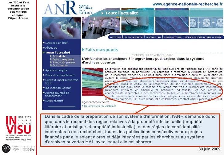 Les TIC et l'art    Accès à la documentation   scientifique    en ligne : l'Open Access                        Dans le cad...