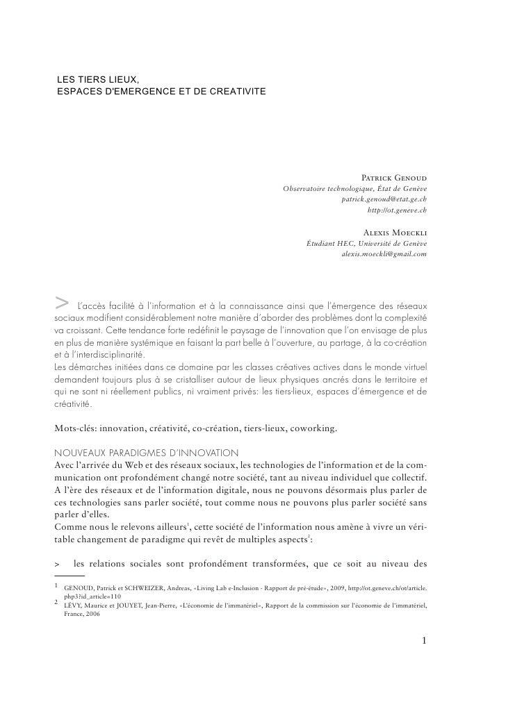 LesTIERSD'EMERGENCE ET DE CREATIVITE LES     tiers-Liex, ESPACES          LIEUX,  espaces d'émergence de créativité       ...