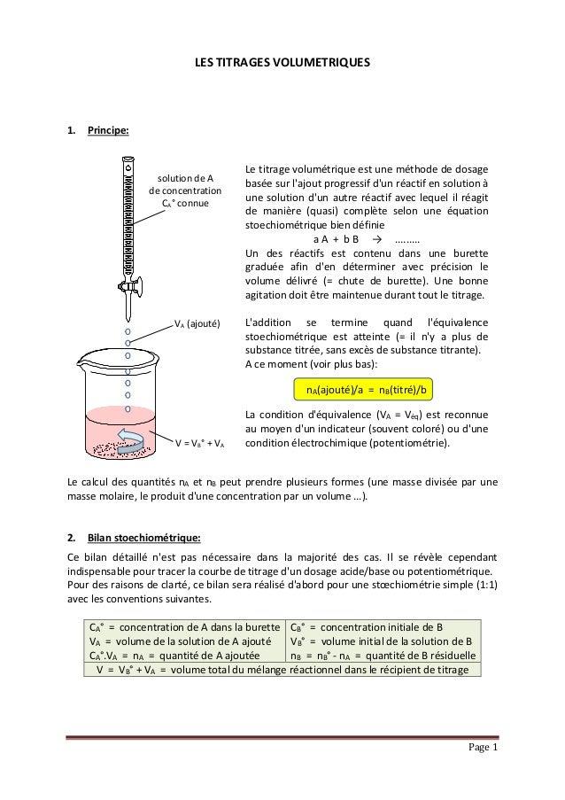 """Page 1 LES TITRAGES VOLUMETRIQUES Prérequis: Une bonne compréhension du fichier """"LES REACTIONS D'OXYDO-REDUCTION"""" présenté..."""