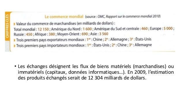 • Les échanges désignent les flux de biens matériels (marchandises) ou  immatériels (capitaux, données informatiques…). En...
