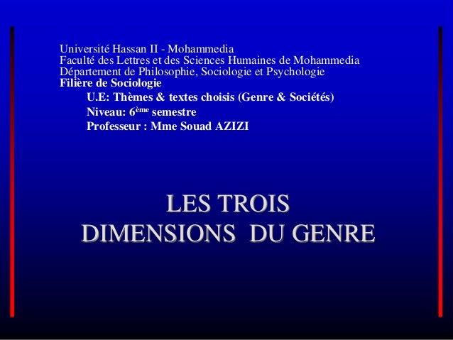 LES TROIS DIMENSIONS DU GENRE Université Hassan II - Mohammedia Faculté des Lettres et des Sciences Humaines de Mohammedia...