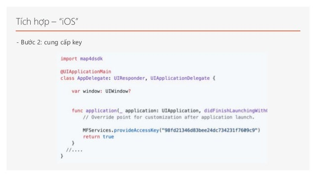 """Tích hợp – """"iOS"""" - Bước 2: cung cấp key"""