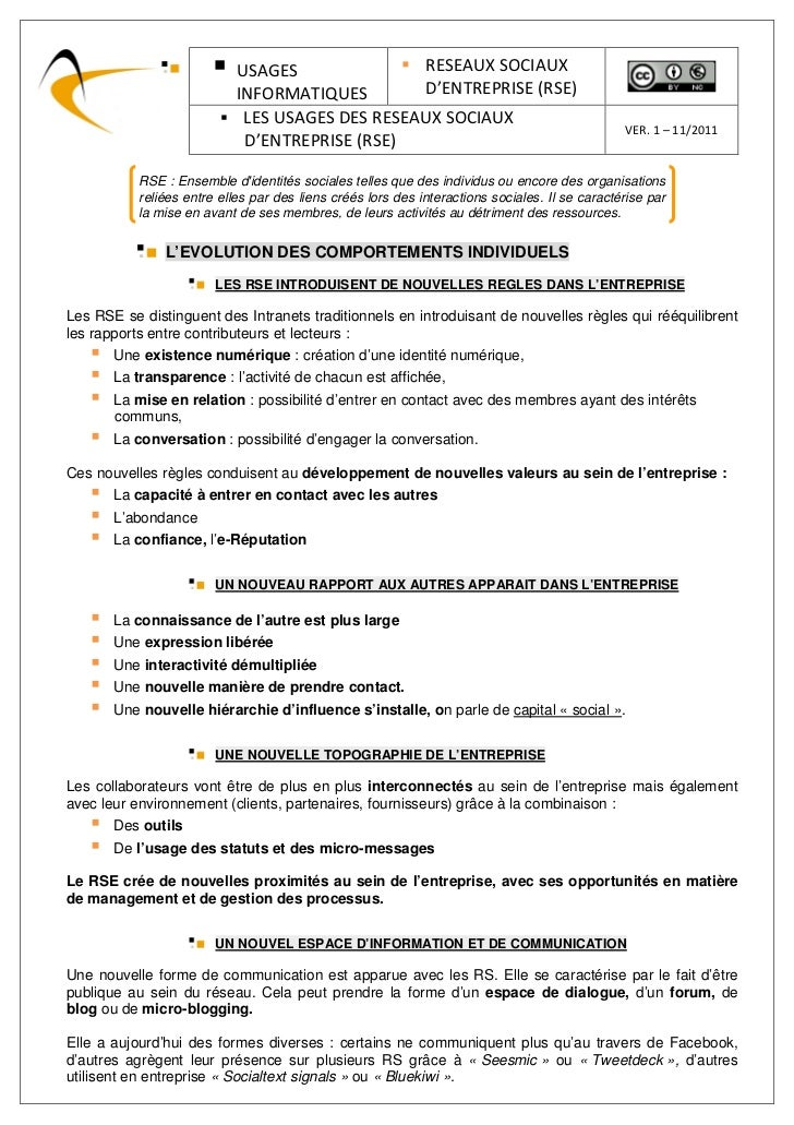 USAGES               RESEAUX SOCIAUX                            INFORMATIQUES        D'ENTREPRISE (RSE)                   ...