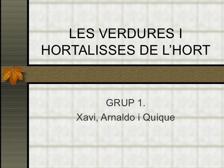 LES VERDURES I HORTALISSES DE L'HORT GRUP 1. Xavi, Arnaldo i Quique