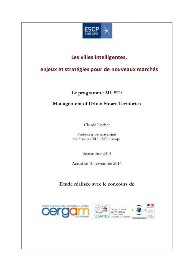 Les  villes  intelligentes,  enjeux  et  stratégies  pour  de  nouveaux  marchés  Le programme MUST :  Management of Urban...