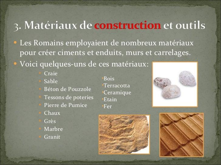 Les villes romaines 1 - Les materiaux pour construire une maison ...