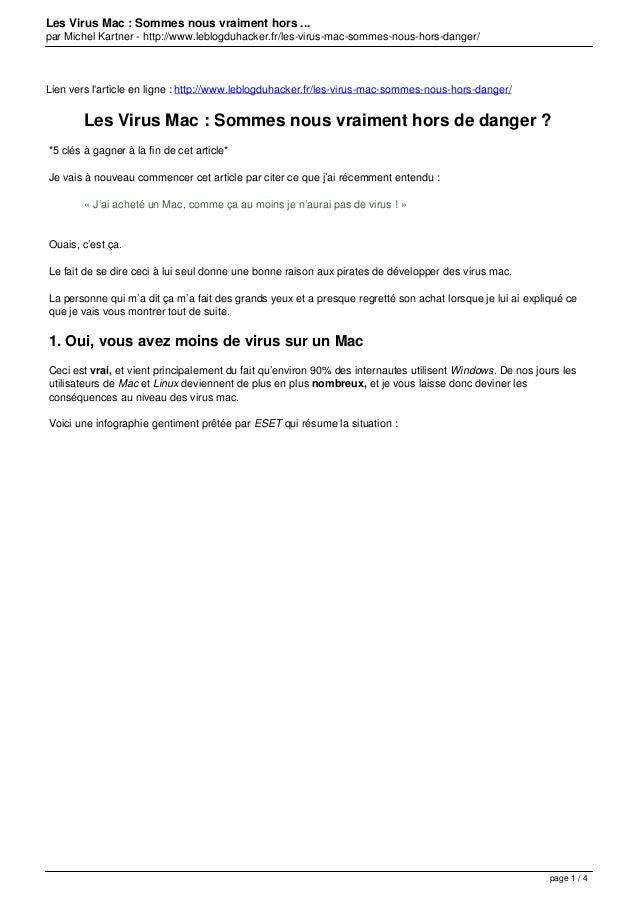 Les Virus Mac : Sommes nous vraiment hors ... par Michel Kartner - http://www.leblogduhacker.fr/les-virus-mac-sommes-nous-...