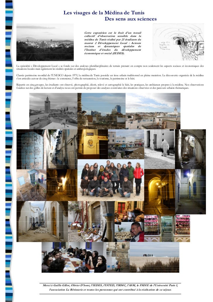 Les visages de la Médina de Tunis                                                             Des sens aux sciences       ...