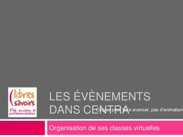 LES ÉVÈNEMENTSDANS CENTRA avancer, pas d'animation       Cliquer pour faireOrganisation de ses classes virtuelles