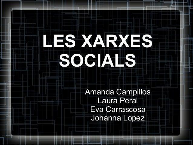 LES XARXES SOCIALS Amanda Campillos Laura Peral Eva Carrascosa Johanna Lopez