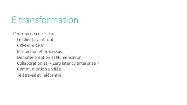 E transformation L'entreprise en réseau : Le Client avant tout CRM et e-CRM Interaction et processus Dématérialisation et ...