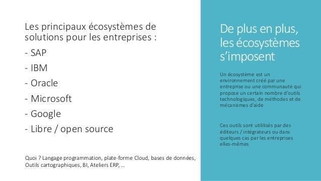 De plus en plus, les écosystèmes s'imposent Les principaux écosystèmes de solutions pour les entreprises : - SAP - IBM - O...