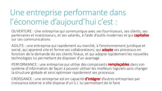 Une entreprise performante dans l'économie d'aujourd'hui c'est : OUVERTURE : Une entreprise qui communique avec ses fourni...
