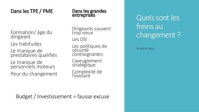 Quels sont les freins au changement ? Dans les TPE / PME Formation/ âge du dirigeant Les habitudes Le manque de prestatair...