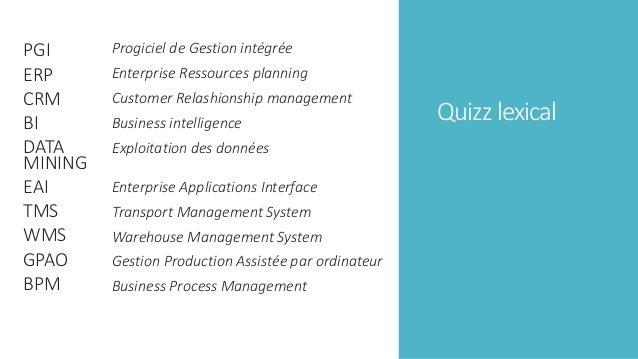 Quizz lexical PGI ERP CRM BI DATA MINING EAI TMS WMS GPAO BPM Progiciel de Gestion intégrée Enterprise Ressources planning...