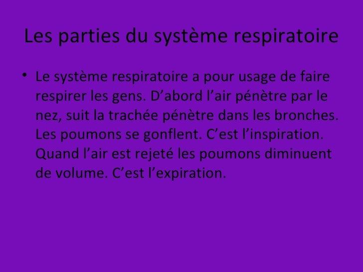 Les parties du système respiratoire <ul><li>Le système respiratoire a pour usage de faire respirer les gens. D'abord l'air...