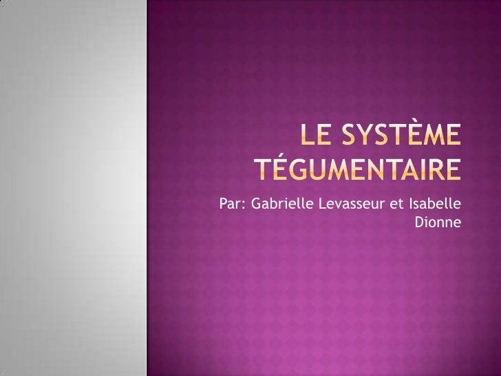 Le système tégumentaire<br />Par: Gabrielle Levasseur et Isabelle Dionne<br />