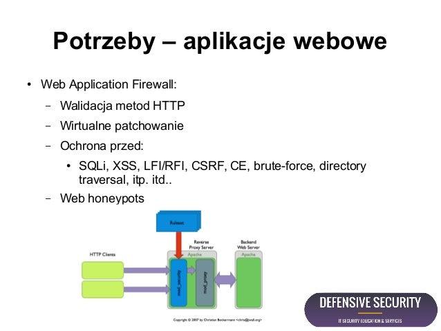 Potrzeby – aplikacje webowe ● Web Application Firewall: – Walidacja metod HTTP – Wirtualne patchowanie – Ochrona przed: ● ...