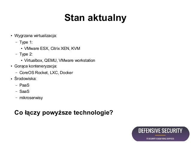 Stan aktualny ● Wygrzana wirtualizacja: – Type 1: ● VMware ESX, Citrix XEN, KVM – Type 2: ● Virtualbox, QEMU, VMware works...