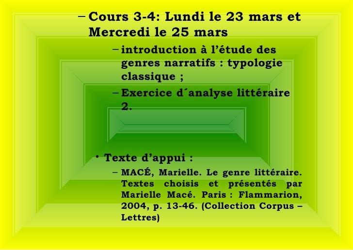 <ul><ul><li>Cours 3-4: Lundi le 23 mars et Mercredi le 25 mars </li></ul></ul><ul><ul><ul><ul><li>introduction à l'étude d...