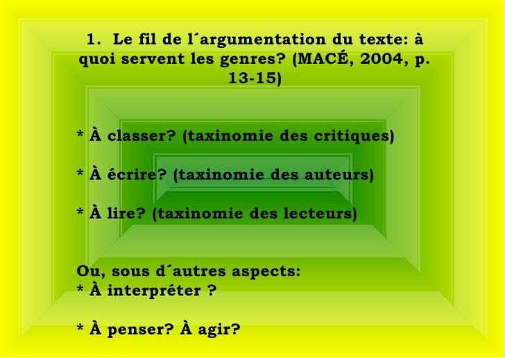 1.  Le fil de l´argumentation du texte: à quoi servent les genres? (MACÉ, 2004, p. 13-15) * À classer? (taxinomie des cri...