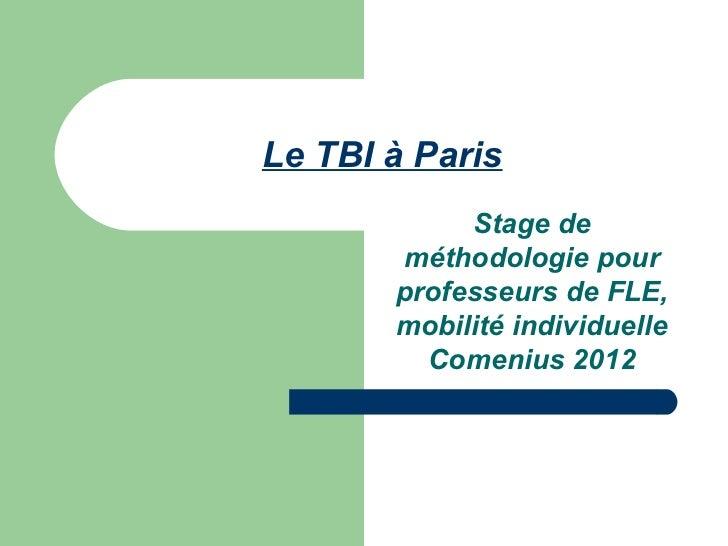 Le TBI à Paris            Stage de       méthodologie pour       professeurs de FLE,       mobilité individuelle         C...