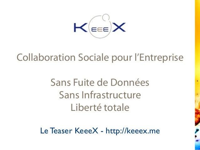 Collaboration Sociale pour l'Entreprise Sans Fuite de Données Sans Infrastructure Liberté totale Le Teaser KeeeX - http://...