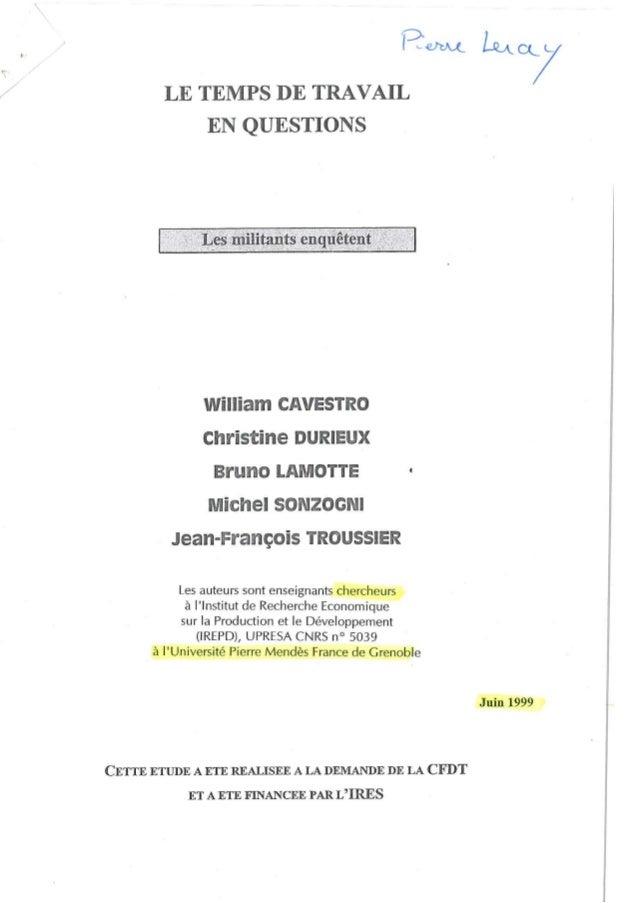 713364add2d Le temps de travail en question - les militants enquêtent CFDT - juin 1999  ...