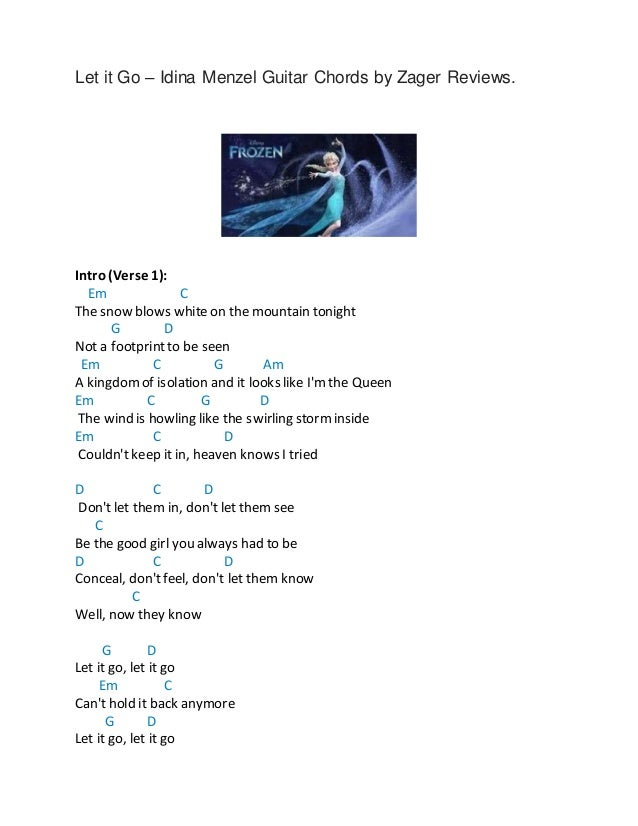 Let It Go Idina Menzel Guitar Chords By Zager Reviews