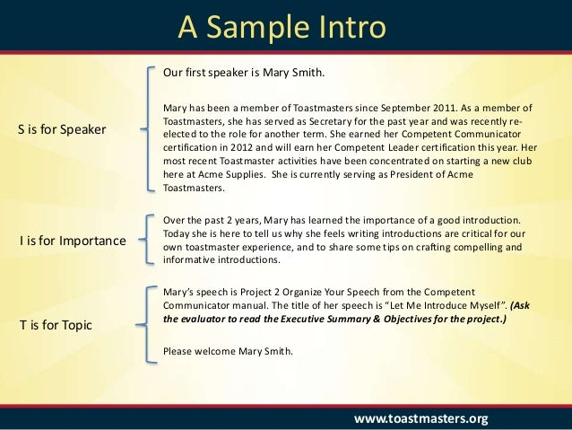 Introduction speech sample design templates 8 toastmasters a sample thecheapjerseys Gallery