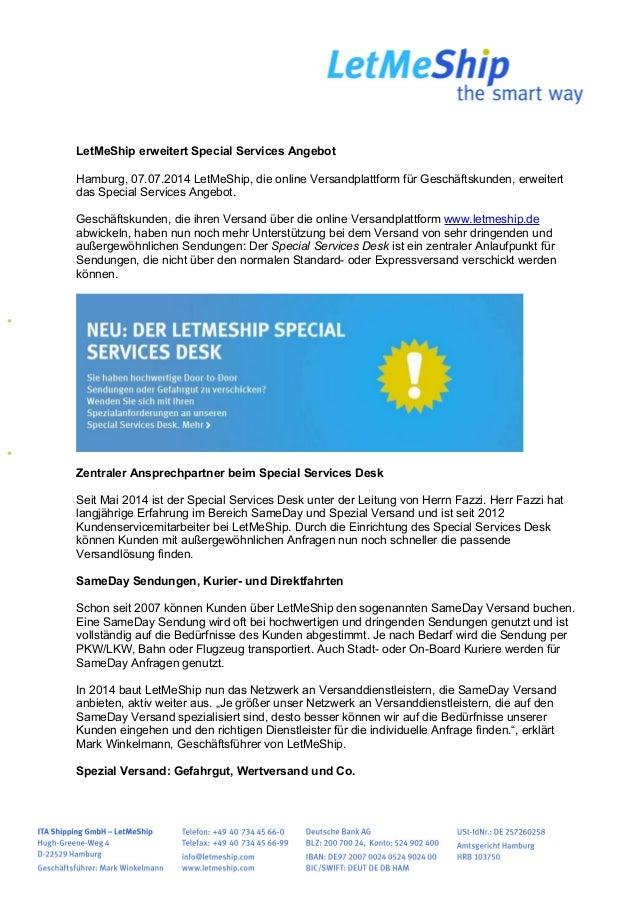 Letmeship Erweitert Special Services Angebot