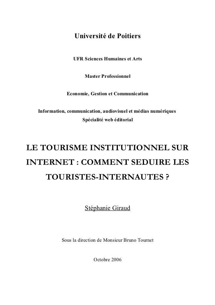 Université de Poitiers                 UFR Sciences Humaines et Arts                      Master Professionnel            ...