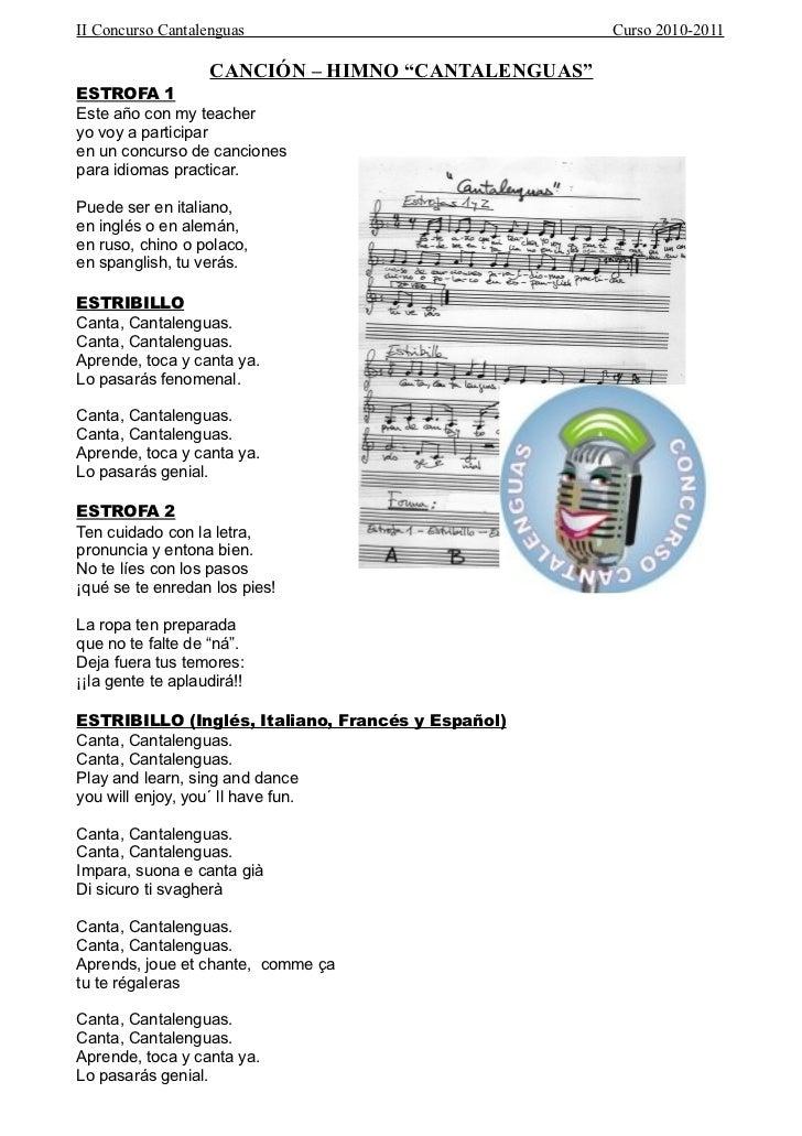 """II Concurso Cantalenguas                            Curso 2010-2011                   CANCIÓN – HIMNO """"CANTALENGUAS""""ESTROF..."""