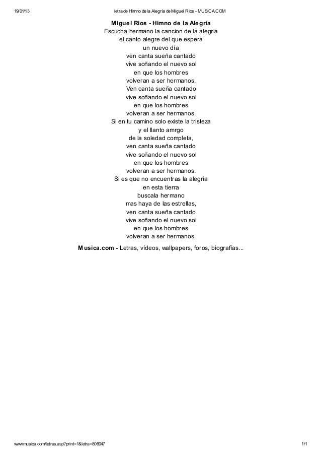 Letra de himno de la alegría de miguel rios musica - photo#50