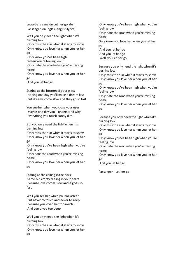 Letra De La Canción Let Her Go En Ingles