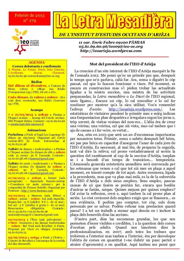 Febrièr de 2013            n° 179                                          DE L'INSTITUT D'ESTUDIS OCCITANS D'ARIÈJA      ...