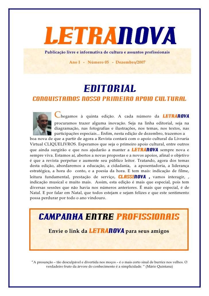 LETRANOVA         Publicação livre e informativa de cultura e assuntos profissionais                          Ano I - Núme...