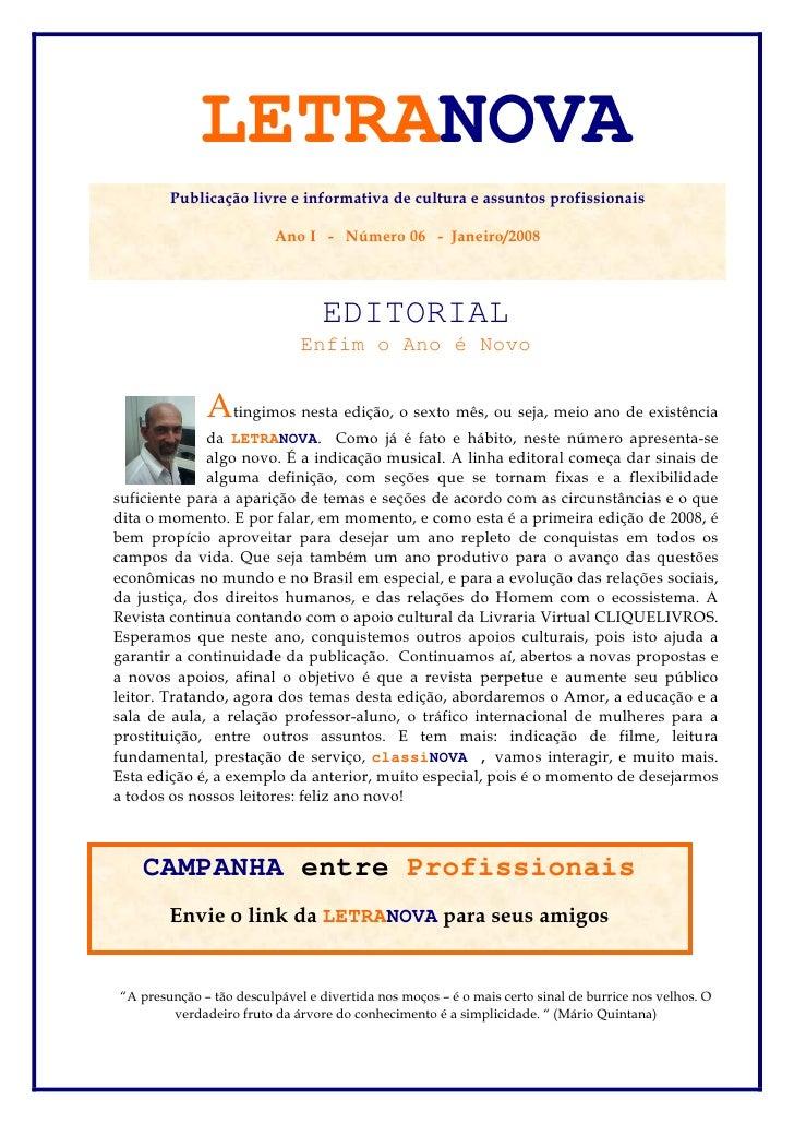 LETRANOVA         Publicação livre e informativa de cultura e assuntos profissionais                            Ano I - Nú...