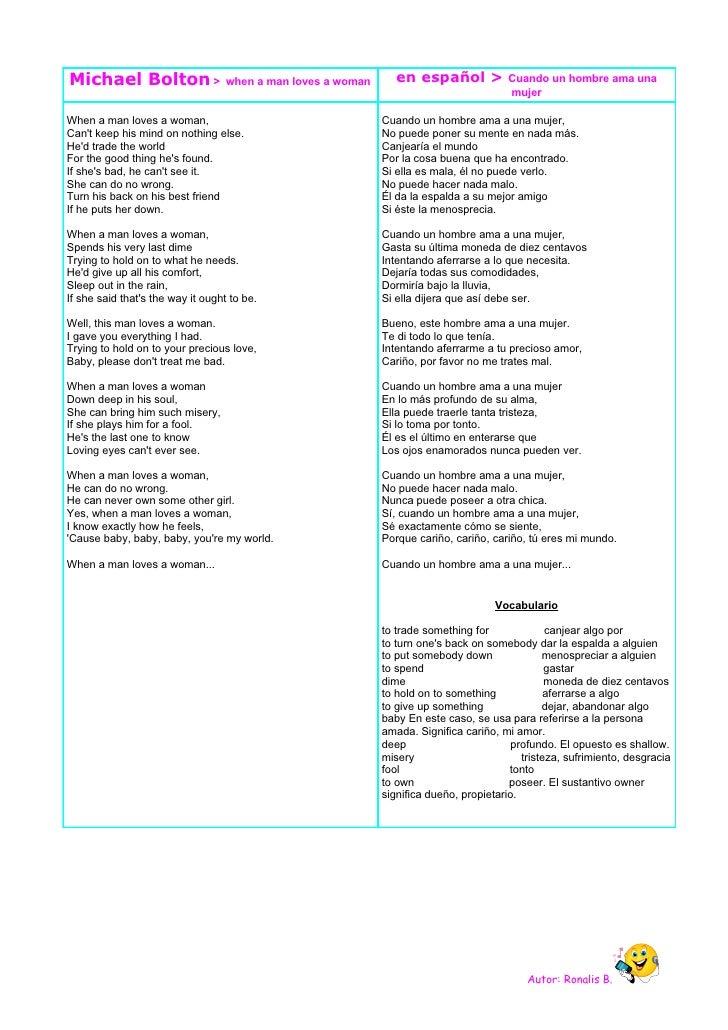 Michael Bolton >                   when a man loves a woman      en español >            Cuando un hombre ama una         ...
