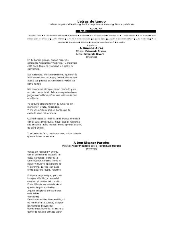 Letras De Tango11 A La
