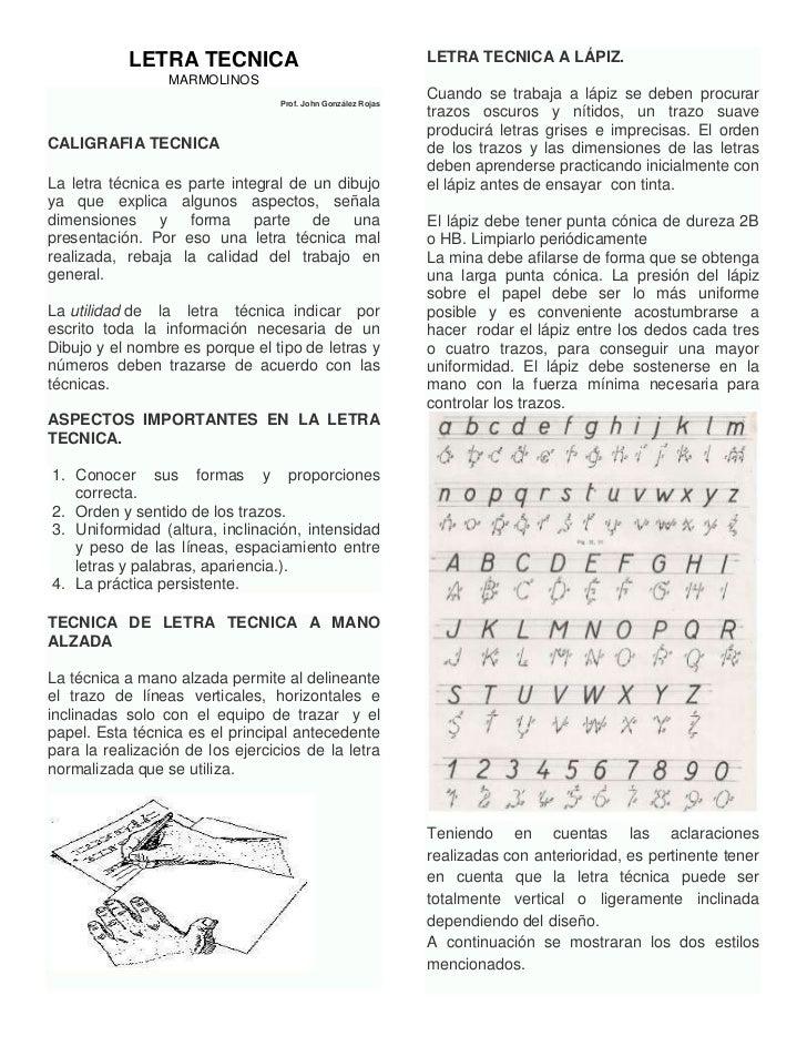 LETRA TECNICA                                      LETRA TECNICA A LÁPIZ.                 MARMOLINOS                      ...
