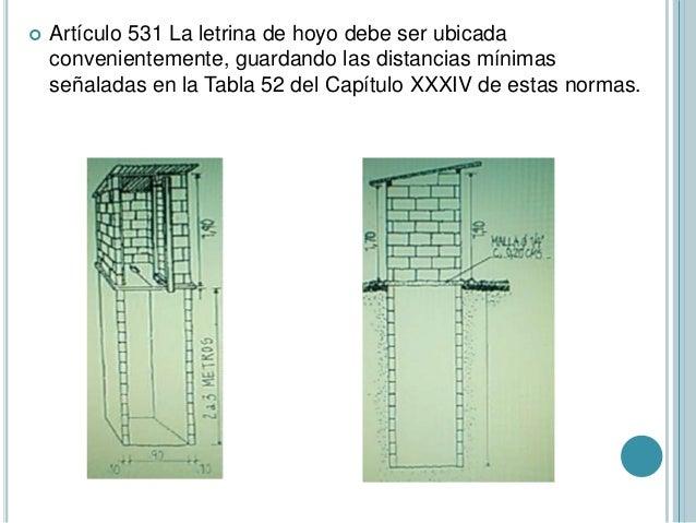  Artículo 531 La letrina de hoyo debe ser ubicada convenientemente, guardando las distancias mínimas señaladas en la Tabl...