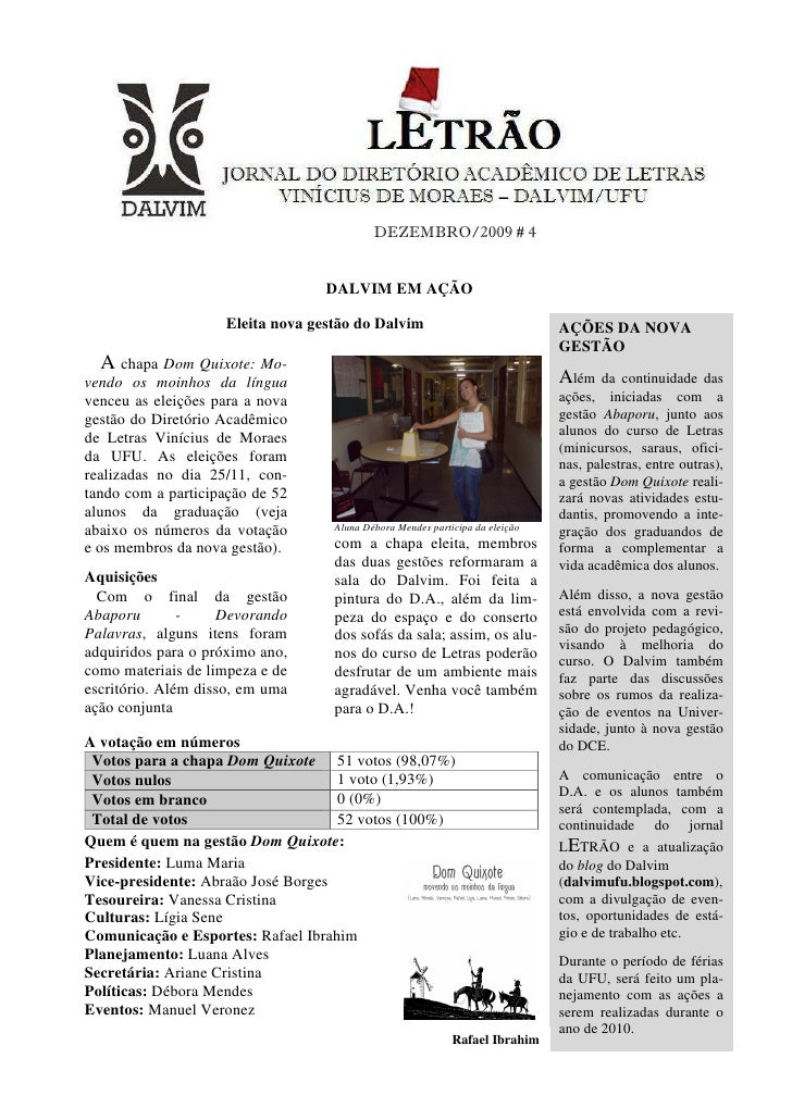 DEZEMBRO/2009 # 4                                     DALVIM EM AÇÃO                      Eleita nova gestão do Dalvim    ...