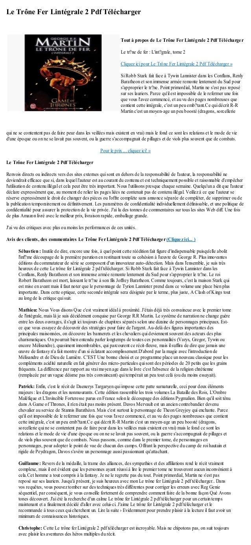 Le Trône Fer Lintégrale 2 Pdf Téléchargerqui ne se contentent pas de faire peur dans les veillées mais existent en vrai) m...