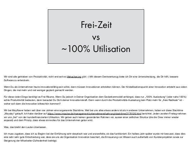 Frei-Zeit vs ~100% Utilisation Wir sind alle getrieben von Produktivität, nicht erst seit es lifehacker.org gibt ;-) Mit d...