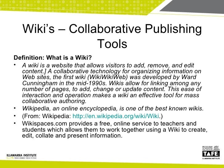 Collaborative Teaching Wikipedia ~ Lets share it collaborative tools and practices